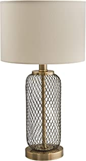 Stone & Beam Modern Metal Mesh Living Room Table Lamp With Light Bulb - 10 x 10 x 19 Inches, Antique Brass with Linen Shade