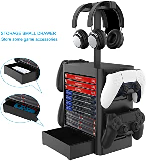Joytorn Games Storage Tower(Up to 10 Games) for PS5,Game Disk Rack and Controller/Headset Stand Holder Compatible with Xbo...