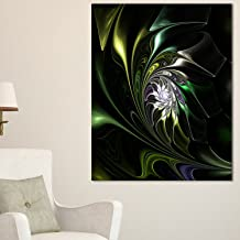 "Designart PT12121-12-20 Multi-Colored Green Stained Glass Floral Canvas Artwork Print, 20"" H x 12"" W x 1"" D 1P"