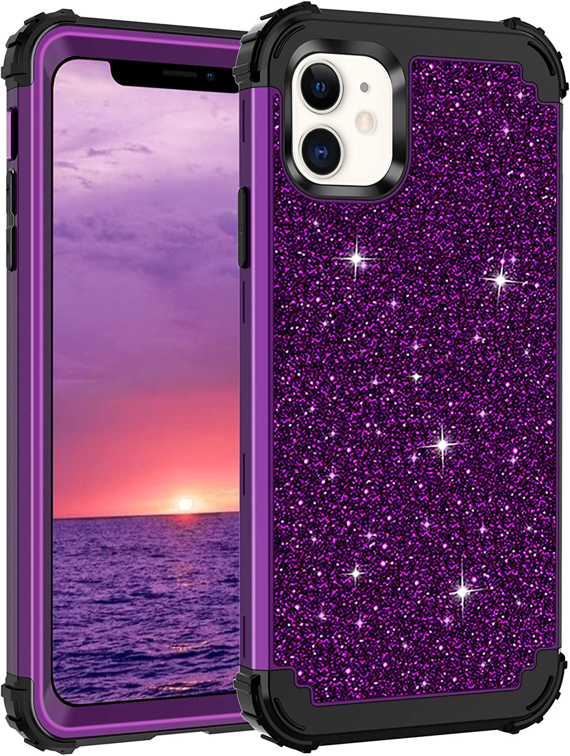 Lontect Compatible iPhone 11 Case Glitter Sparkle Bling Heavy Duty Hybrid Sturdy High Impact Shockproof Protective Cover Case for Apple iPhone 11 6.1 2019, Shiny Purple/Black