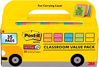 Post-it Super Sticky Notes, Classroom Value Pack, 35 Pads/Pack, 2X The Sticking Power, 3x3 in, Bright Colors (654-35SSBUS)