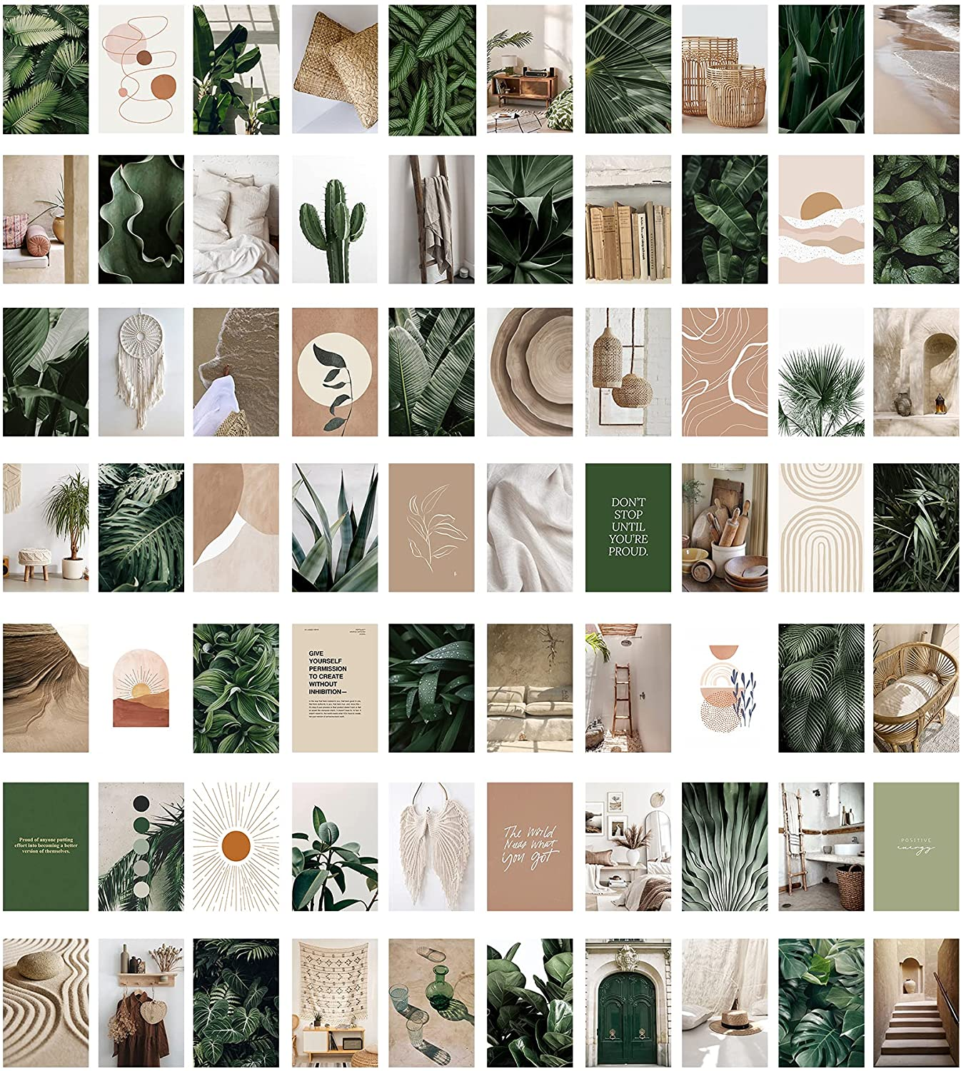 Adzt's 70 Pieces Aesthetic Pictures Wall Collage Kit , Boho Cottagecore Photo Collection Collage VSCO Bedroom Dorm Decor for Girls Teens Boho Plants Living Room Decor