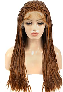 lace front braided wigs for Africa Black Women Fully Hand Tied Twist Synthetic Long Micro Braids Full Wig with Baby Hair 30# Color