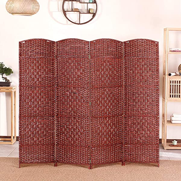 Liusin 4 Panel Room Dividers 5 9 Ft Tall Wood Mesh Woven Rattan Freestanding Folding Privacy Screen Portable Partition Wall Divider With Solid Wood Frame For Home Office Brown