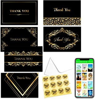 Thank You Card Notes Box of 48 With Envelopes & Stickers–Six Luxury Designs in Gold&Black Perfect for Wedding, Baby Shower,Graduation,Sympathy, Business & Funeral, Appreciation