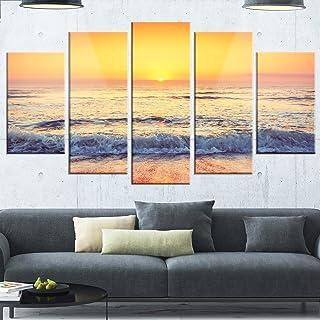 Designart Yellow Cloudscape over Seashore-Large Beach Glossy Metal Wall Art, 60x32-5 Panels Diamond Shape