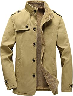 Vcansion Men's Winter Fleece Windproof Jacket Outerwear Single Breasted Classic Cotton Jacket Coats