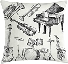 Ambesonne Jazz Music Throw Pillow Cushion Cover, Illustration of Musical Instruments Sketch Style Art with Trumpet Piano Guitar, Decorative Square Accent Pillow Case, 16 X 16, Ecru Black