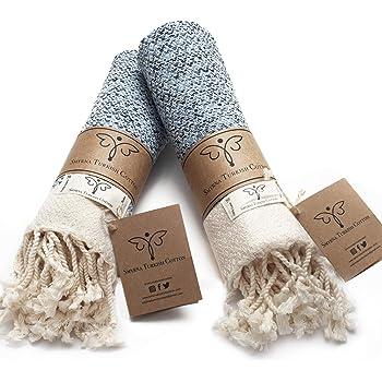 Smyrna Original Turkish Hand Towels Set of 2   100% Cotton, 16 x 40 Inches   Decorative Bathroom Peshtemal Towel for Hand, Face, Hair, Gym, Yoga, Tea, Dishcloth, Kitchen and Bath (Light Blue)