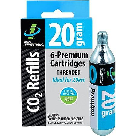 Genuine Innovations, 20g, Innovations G2132, Cartuchos de CO2 para Bicicletas, de Rosca, Paquete de 6Unidades, Cycling, Silver
