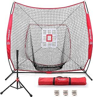 Keenstone 7'×7' Baseball Softball Practice Net | Hitting, Pitching, Batting, Catching, Fielding | with Batting Tee, 3 Training Balls, Strike Zone Target, Carry Bag