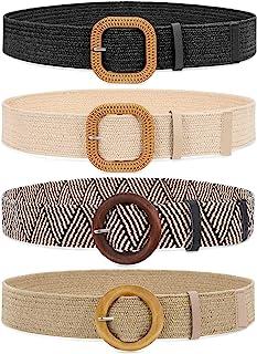 Set of 4 Straw Woven Elastic Stretch Waist Belts for Women, Fashion Boho Ladies Braided Skinny...