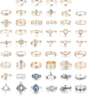 52 Pcs Vintage Knuckle Rings for Women Midi Ring Set Stackable Bohemian Retro Joint Finger Rings Hollow Carved Flowers