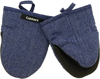 Cuisinart Chambray Neoprene Mini Oven Mitts, 2pk – Heat Resistant Kitchen Gloves to Protect Hands & Surfaces w/ Non-Slip Grip & Hanging Loop –Ideal for Handling Hot Cookware/Bakeware – Indigo