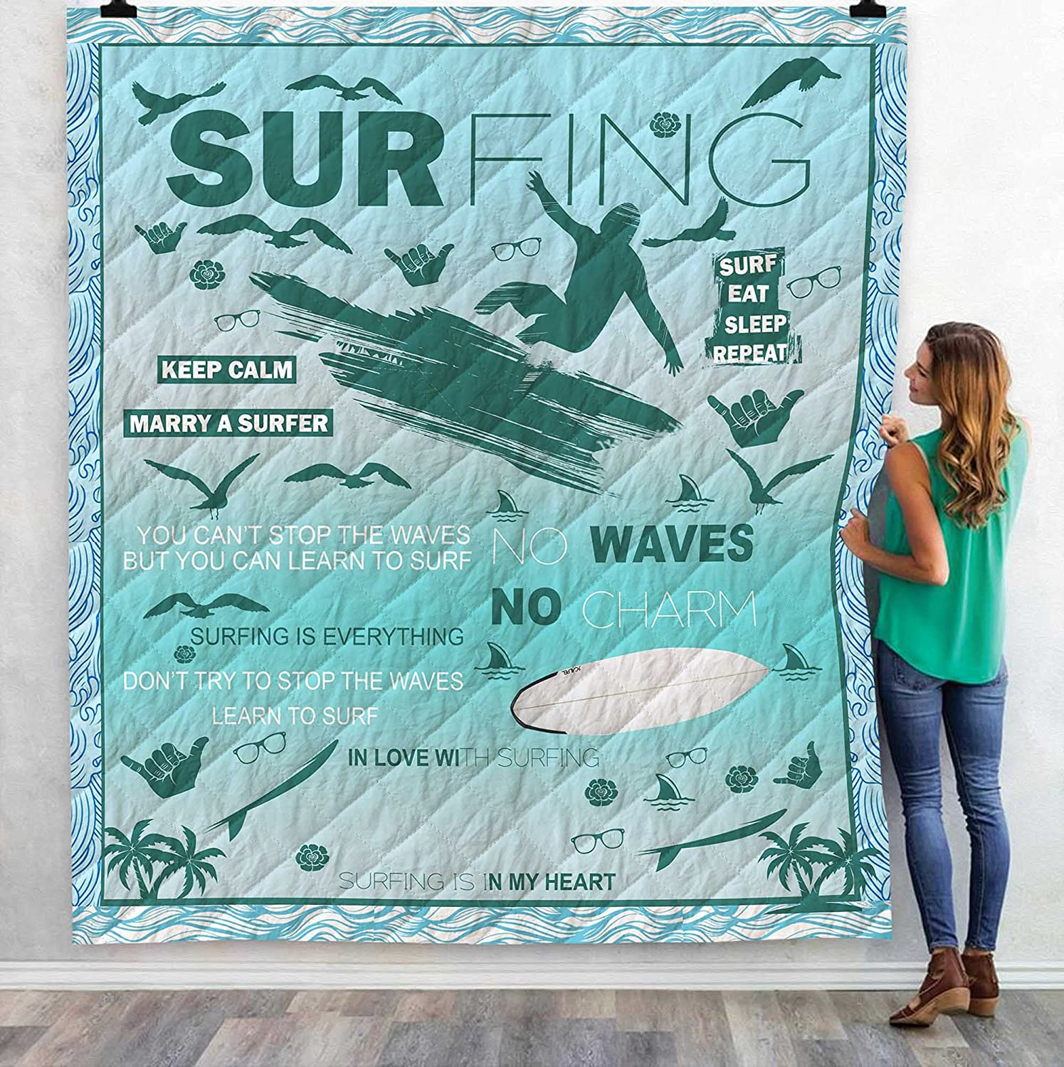 Surfing Blanket - Gift for Surfer 51x59i Custom Sale low-pricing Special Price Quilt