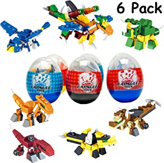 6 Pack Dinosaur Toy| Mini Building Blocks Dino STEM Toys|2 in 1 Surprise Egg with 52Pcs Building Bricks Toys. Party Favor for Kids, Goodie Bags, Birthday, Carnival Prize, Easter, BOYS, Girls, Toddlers
