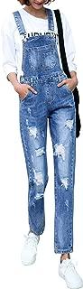 Zengzhiwen Womens Casual Baggy Straight Leg Bib Juniors Denim Overalls Pocket