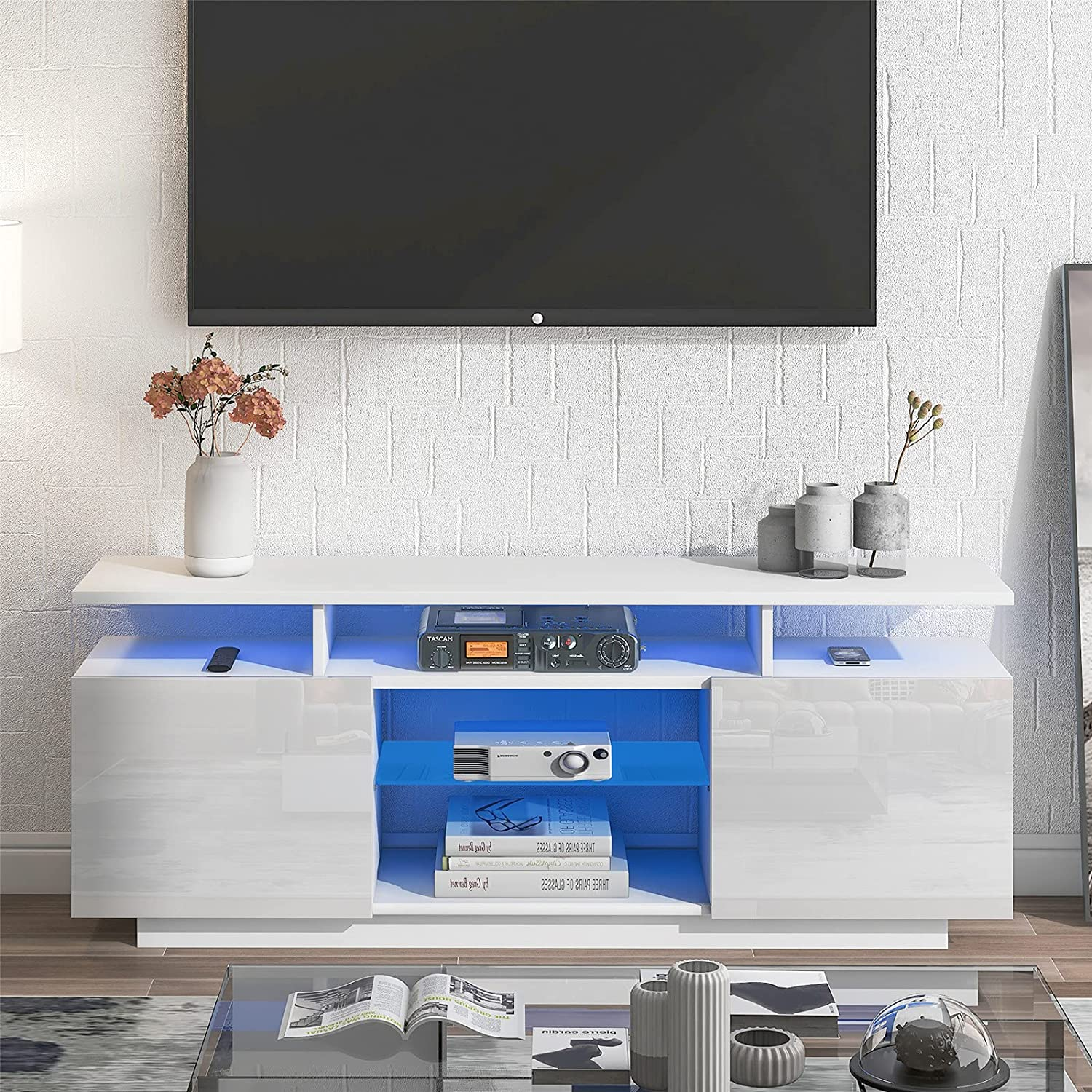 SSLine Modern TV Stand with Free shipping anywhere in the nation 16 Light Two Excellence and Drawers Color LED