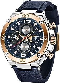 BENYAR - Stylish Wrist Watch for Men, Genuine Leather Strap Watches, Perfect Quartz Movement,...