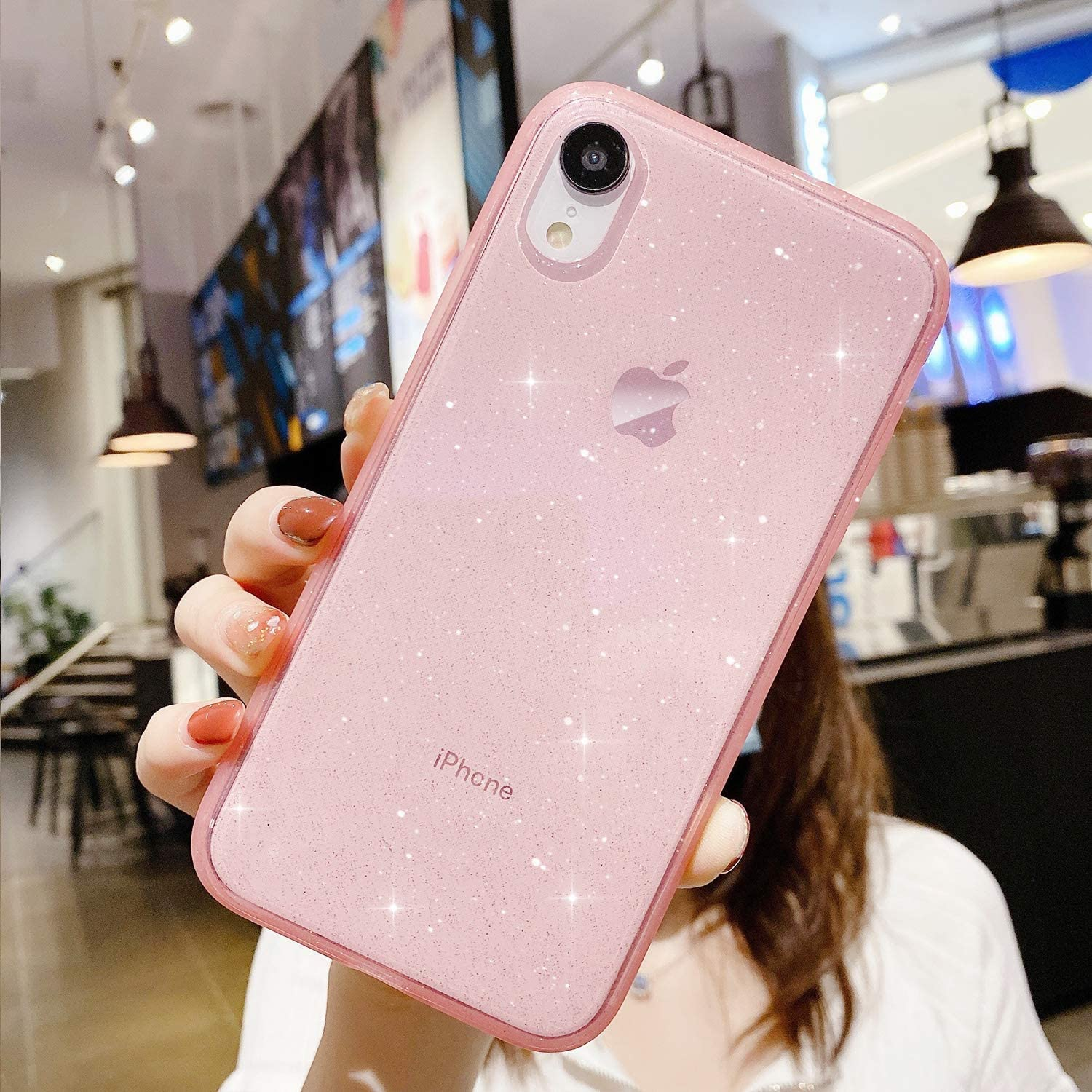 Compatible with iPhone XR Case for Girl Women,[ Anti-Shock Matte Edge Bumper Design] Soft Slim Fit Full-Around Protective Cute Clear Sparkly Bling Phone Case Glitter Cover for iPhone XR 6.1''-Pink