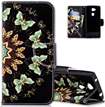 Sony Xperia L2 Case, COTDINFORCA Rainforest Flamingo Retro Elephant Painted Design Premium PU Leather Wallet Case Folio Flip Protective Cover For Sony Xperia L2 (2018).