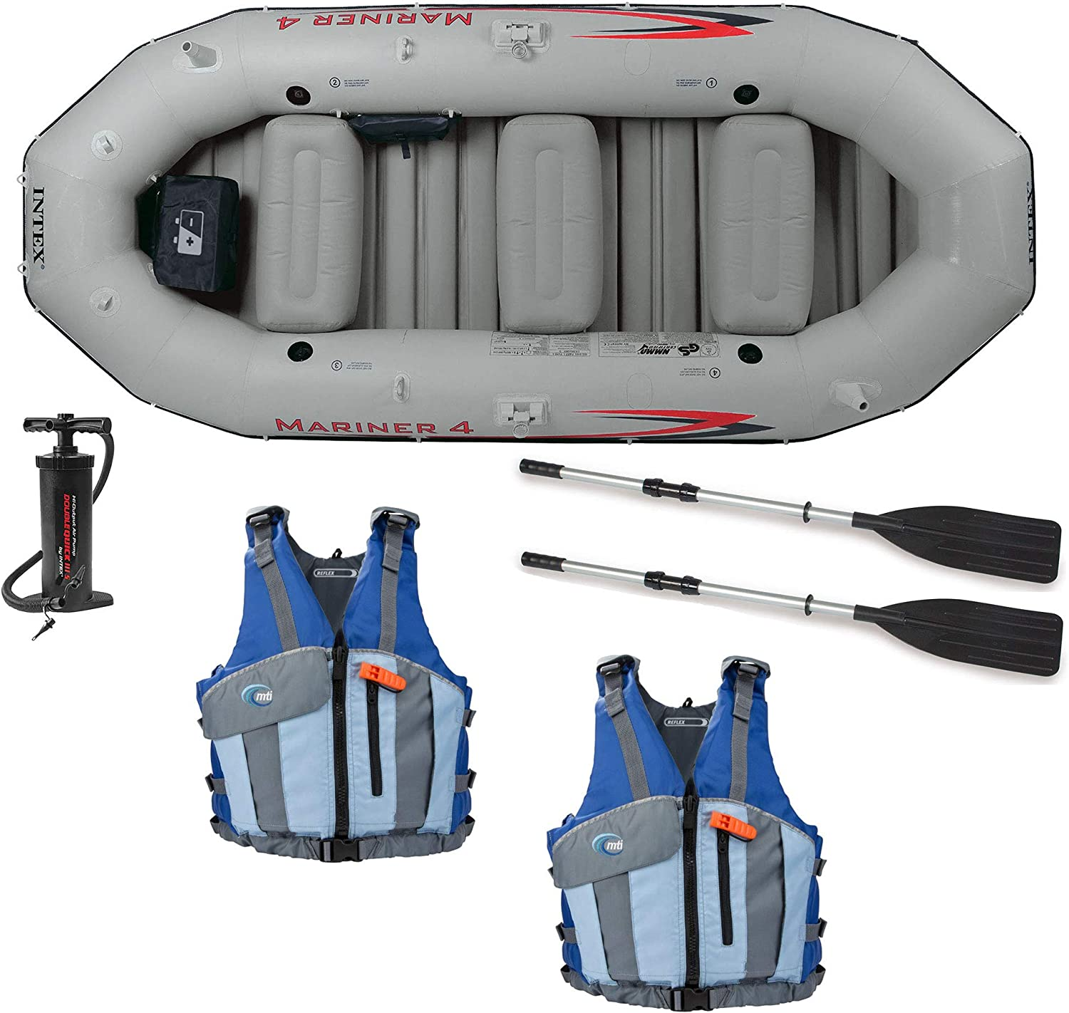 Intex Mariner 4Person Inflatable Boat, Oars, Pump, and 2 Life Jackets, M L