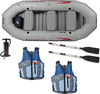 Intex Mariner 4-Person Inflatable Boat, Oars, Pump, and 2 Life Jackets, M/L