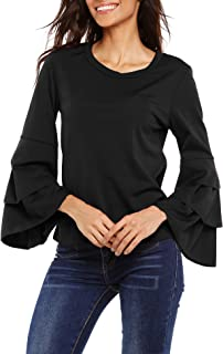 Women Bell Sleeve Blouse Round Neck Layered Ruffle Solid/Polka Dot Casual Shirt Elegant Tee Top