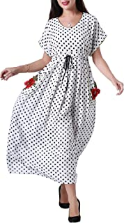 Women's Short Sleeve Polka Dot Print Vintage Bohemian Maxi Dress