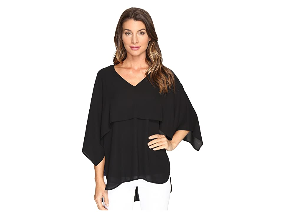 Karen Kane V-Neck Double Layer Top (Black) Women
