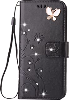 Felico Galaxy S9 Plus Case, Galaxy S9 Plus Wallet Case, S9+ Bling Crystal Flip Case Emboss Butterfly Flower Handmade Folio Kickstand Cover with Card Slots for Samsung Galaxy S9 Plus 6.2 inch Black