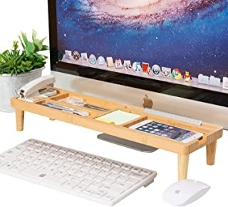 Saving Bamboo Desk Organiser, AhfuLife Small Objects Storage Keyboard Commodity Shelf with 6 Compartments Anti dust Shelf Over Keyboard for Smartphone, ipad, notepads, and More