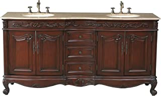 Stufurhome GM-3323-72-TR 72-Inch Saturn Double Vanity in Dark Cherry Finish with Marble Top in Travertine with White Undermount Sinks