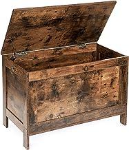 صندوق تخزين من هوباندانا، منظم صندوق ألعاب ريترو مع مفصلي أمان، مقعد تخزين متين للمدخل، أثاث بمظهر الخشب، سهل التركيب، بني...