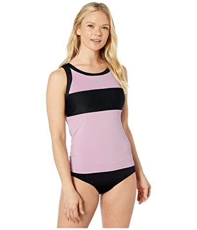 Nike Solid Splice High Neck Tankini (Frosted Plum) Women
