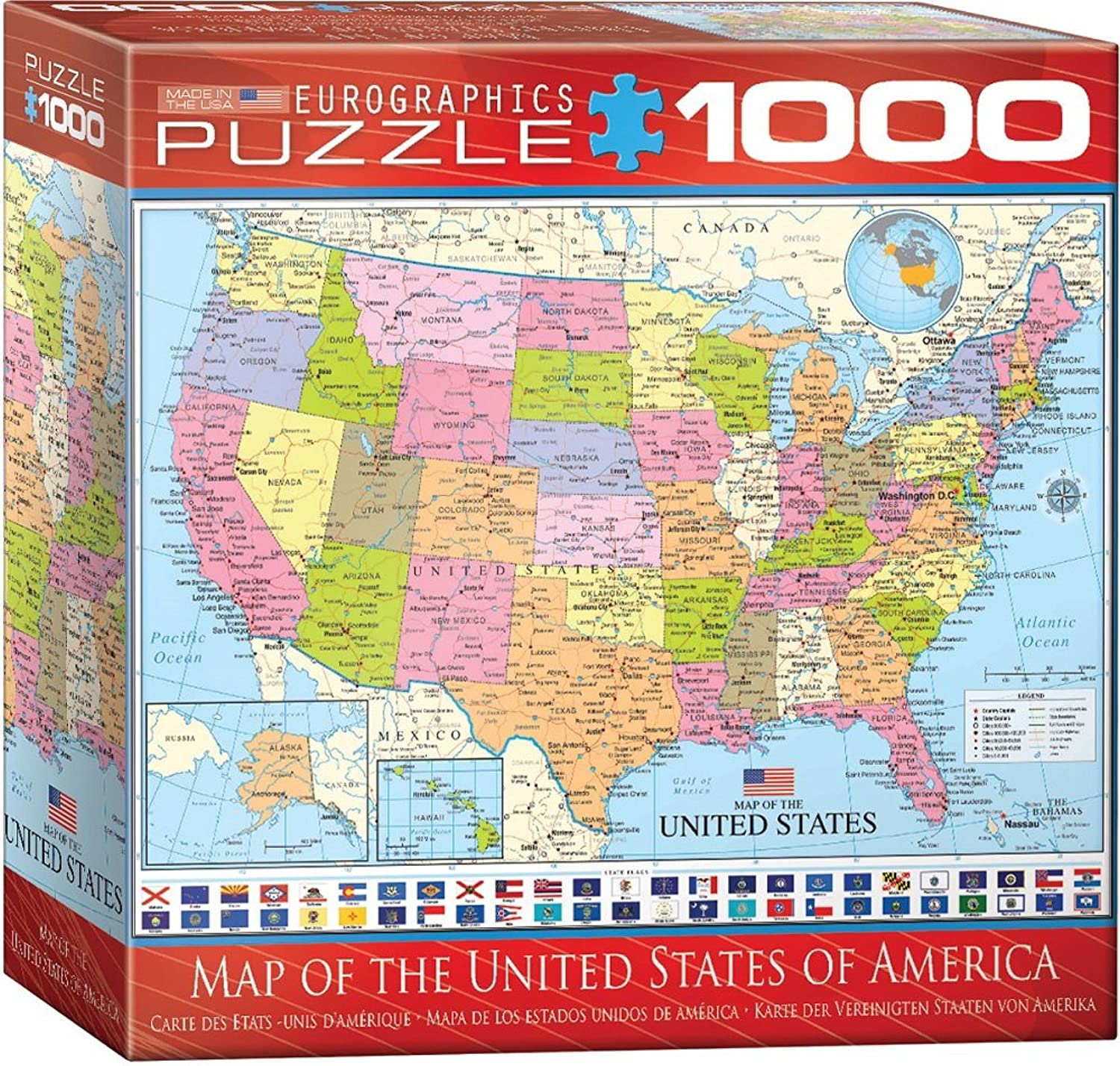 """Eurographics Puzzle Map of The USA"""", 8000-0788 (1000Teile)"""