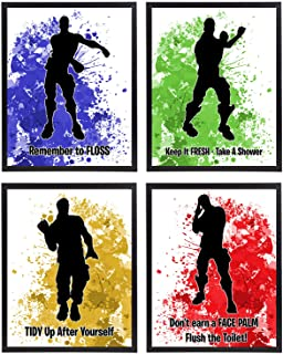 Video Gamer Themed Dance Moves Emote Fort Battle Drop Royale Party Supply Art Prints (Bathroom Decor)