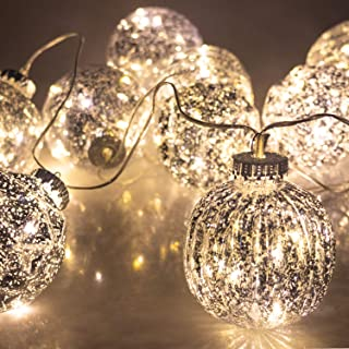 ITART Mercury Ball String Lights Christmas Decoration Fairy Light String Battery Operated 3.15-Inch Ball 10 LEDs Christmas Tree Décor Indoor Garden Festival Wedding Party Starry Lighting