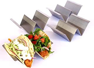 Taco Holder 4 Pack with Handles - Taco Holders - Taco Stand - Taco Tray - Taco Rack - Stainless Steel Taco Holder (4 Pack with Handles)