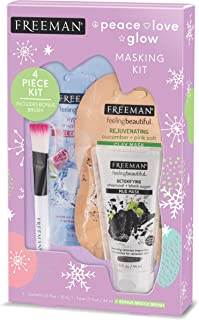 Freeman Beauty Face Mask Skin Care Set, Gel, Mud, and Black Charcoal Facial Masks with Mask Brush, For Women, Set of 4