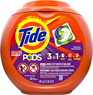 Tide PODS, Laundry Detergent Liquid Pacs, Spring Meadows, 42 Count - Packaging May Vary