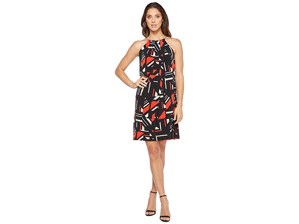 Calvin Klein Printed Halter Dress with Chain Neck (Black/Latte Combo) Women