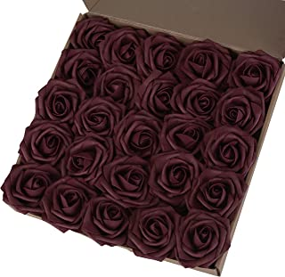 Breeze Talk Artificial Flowers Burgundy Roses 25pcs Realistic Fake Roses w/Stem for DIY Wedding Bouquets Centerpieces Arrangements Party Baby Shower Home Decorations (25pcs Burgundy)