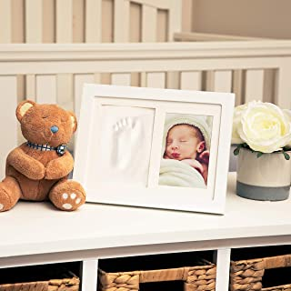"Nuby Baby Keepsake Classic White Wooden Wall Decor Frame That Holds One 3.5 x 5"" Photo & 1 Clay Print Kit For Newborn Girl..."