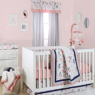 Floral Dot Coral, Grey and Navy Crib Bedding - 11 Piece Sleep Essentials Set
