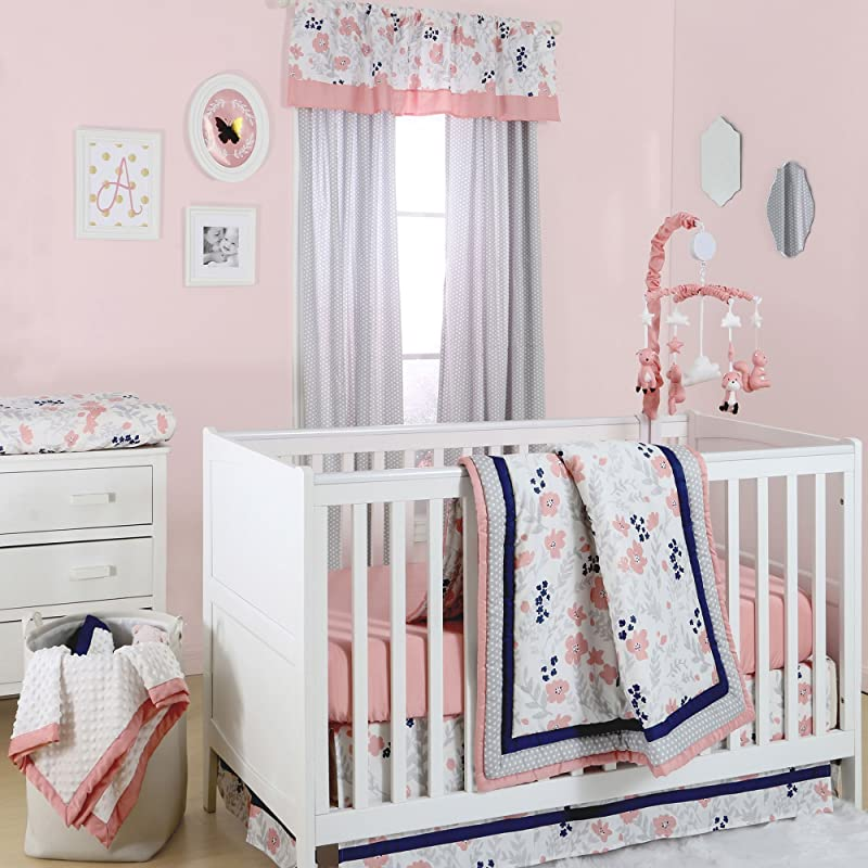 Floral Dot Coral Grey And Navy Crib Bedding 11 Piece Sleep Essentials Set