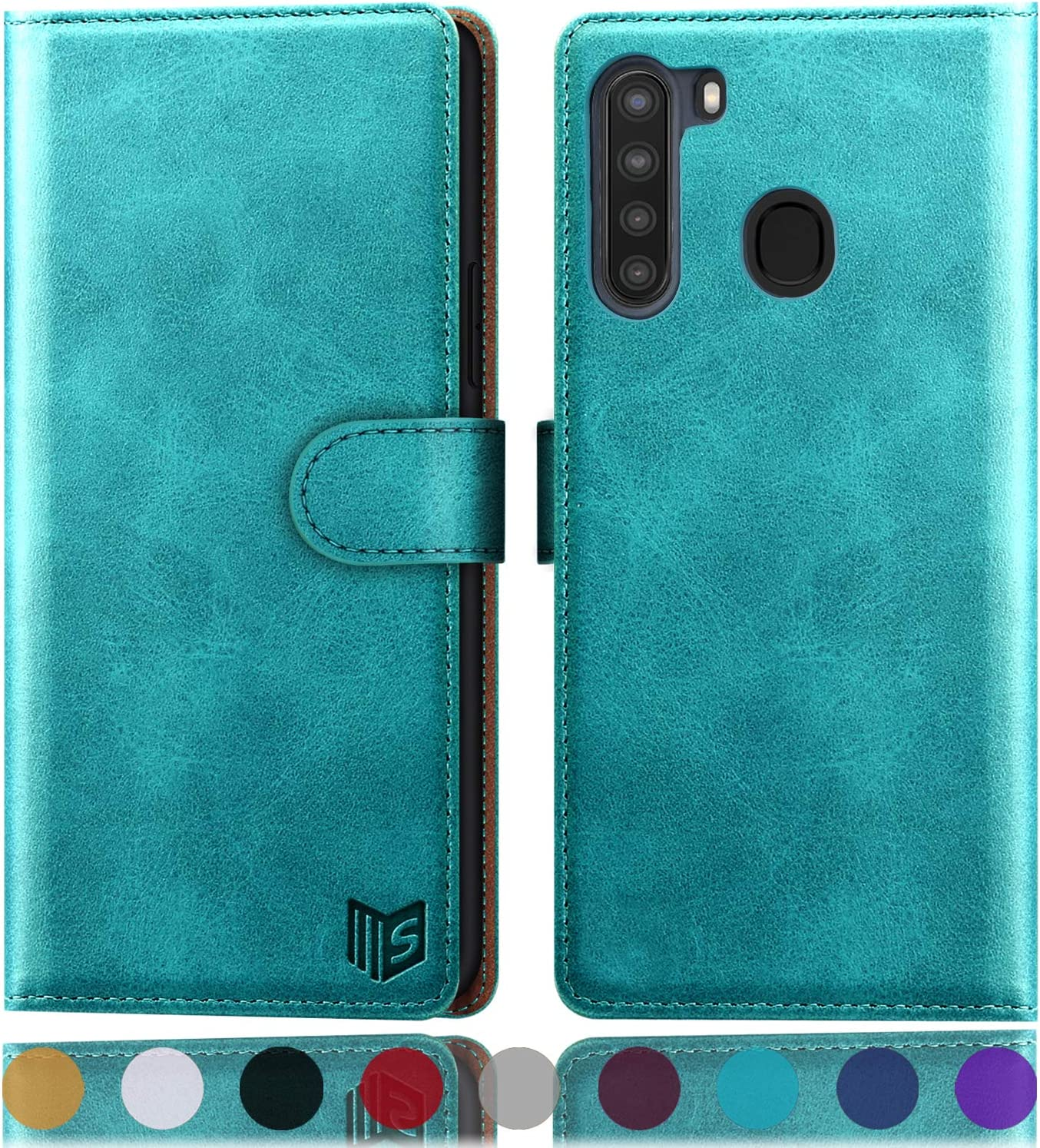 SUANPOT for Samsung Galaxy A21 Wallet case with RFID Blocking Credit Card Holder, Flip Folio Book PU Cell Phone case Cover Shockproof case Wallet Leather Pocket for Men Women Lady(Blue Green)