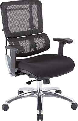 Office Star Pro X996 Manager's Office Chair with Breathable Mesh Back and Padded, Coal FreeFlex Black Fabric Seat
