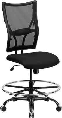 Flash Furniture HERCULES Series Big & Tall 400 lb. Rated Black Mesh Ergonomic Drafting Chair
