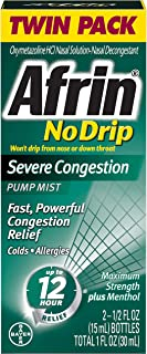 Afrin No Drip Severe Congestion Maximum Strength 12 Hour Nasal Congestion Relief Spray - 2 15 mL Bottles
